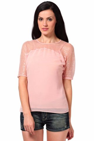 Top With Front Yoke In Sequin Fabric /TSF2066