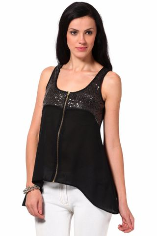 Top With Sequin Yoke And Zipper At Cf /TSF2071