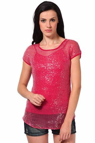 Basic Top In Sequin Fabric /TSF2075