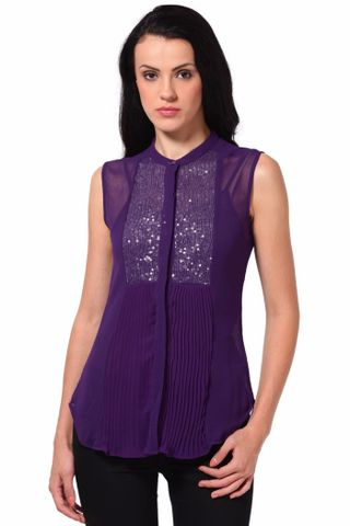 Top In Pleated Fabric And Sequin Fabric Details /TSF2083