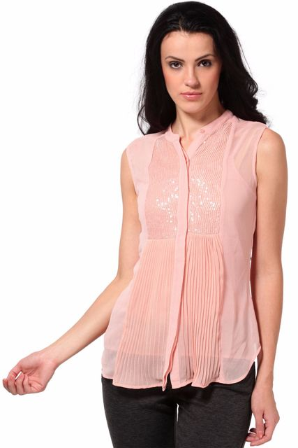 Top In Pleated Fabric And Sequin Fabric Details /TSF2085