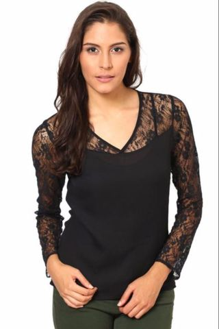 Full Sleeves Net Top With Round Neck /TSF2288