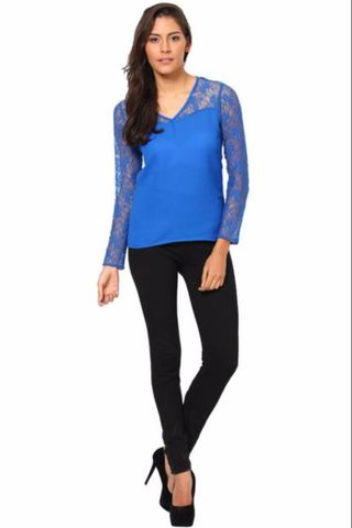 Full Sleeves Net Top With Round Neck /TSF2290