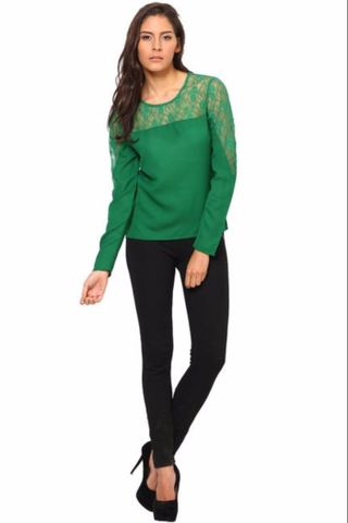 Full Sleeves Net Top With Round Neck /TSF2292