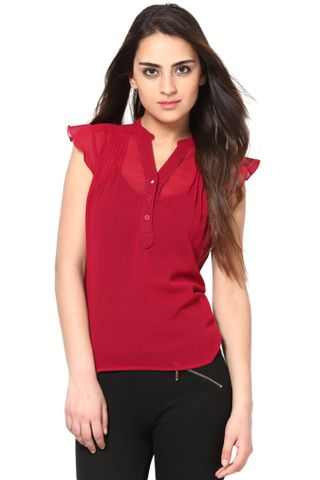 V Neck Top In Georgette /TSF2492