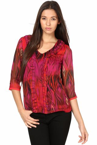 3-4Th Sleeves Top With Frill /TSF2823