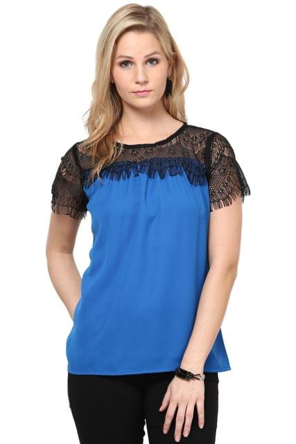 Blue Color Top With Lace On The Top /TSF2963