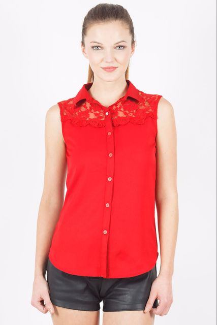 Sleeveless Shirt With Lace /TSF3414