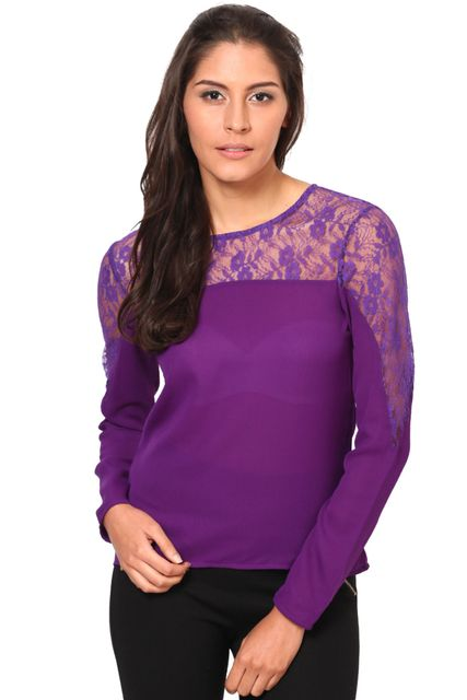 Full Sleeves Net Top With Round Neck /TSF2293