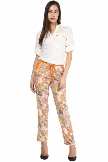 Party  Wear Orange Printed Crepe Trouser /TRF350004