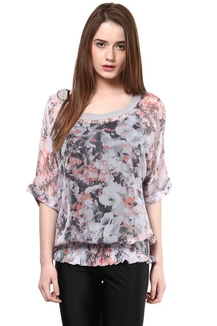 Party  Wear Printed Grey Sheer Top/TSF400039