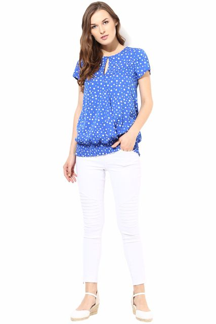 Blue  Color Casual 3/4 Top/TSF400076
