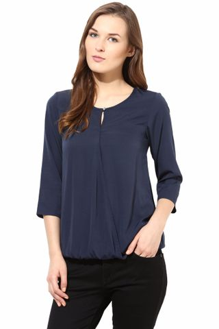 Blue Color Casual 3/ 4 Top/TSF400086
