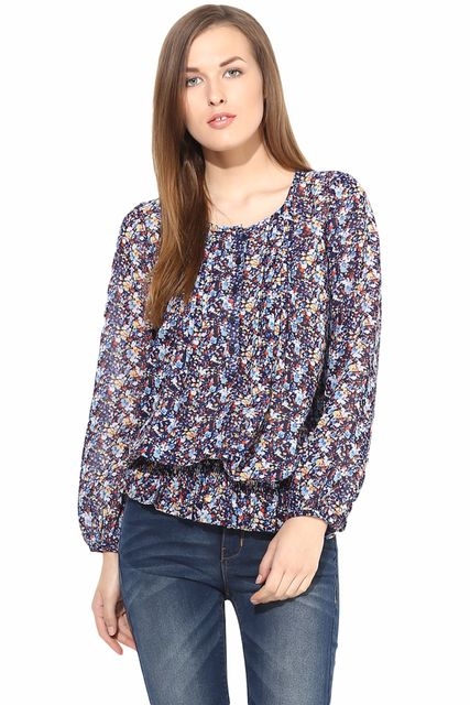 Casual Top In Printed Fabric-TSF400100