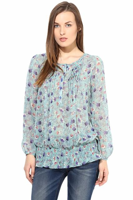 Casual Top In Printed Fabric-TSF400101