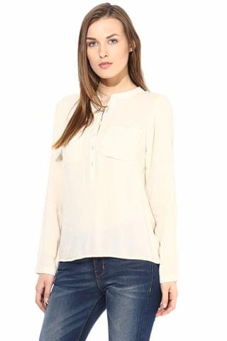 Casual Solid Top With 3/4 Sleeve-TSF400188