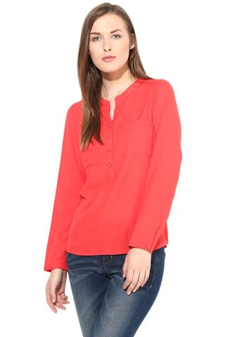 Casual Solid Top With 3/4 Sleeve-TSF400190