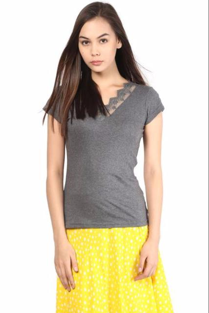 Melange Top With Detailing On Neck/TSF400026