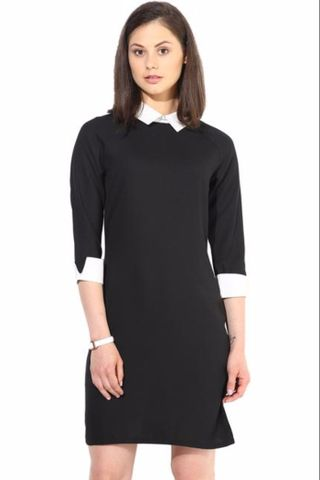 Black Casual Dress In Solid With Emblishment At Collar/DRF500107
