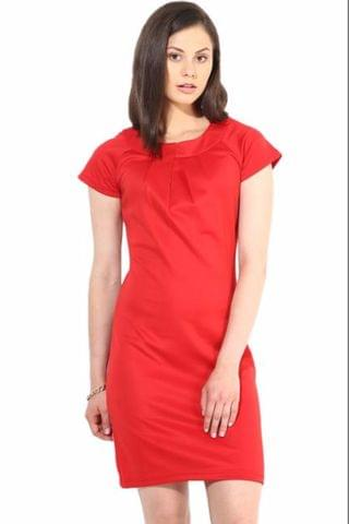 Red Casual Dress In Viscose Knit Fabric/DRF500120