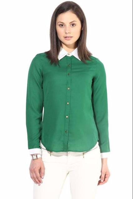Green Casual Shirt With Golden Button/TSF400202