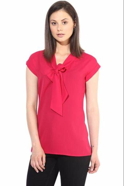 Fuchsia Casual Top In Solid/TSF400206