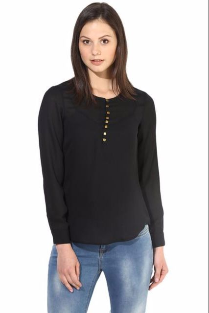 Black Casual Top In Solid/TSF400207