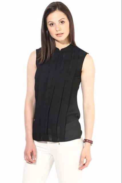 Black Pleated Top In Solid Summer Cool/TSF400209