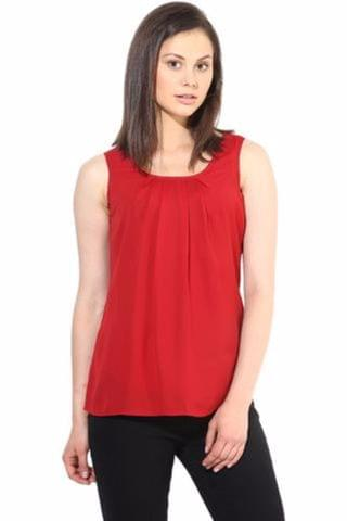 Red Casual Top In Solid/TSF400220
