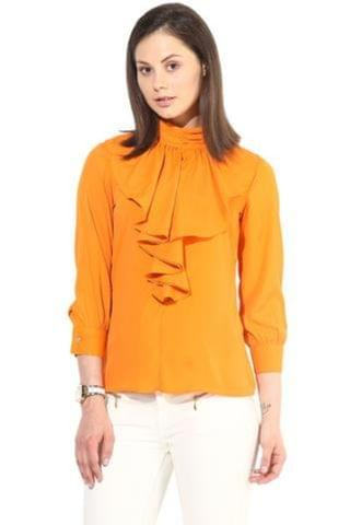 Orange Casual Top In Solid/TSF400225