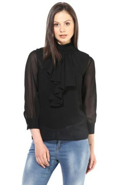 Black Casual Top In Solid/TSF400228