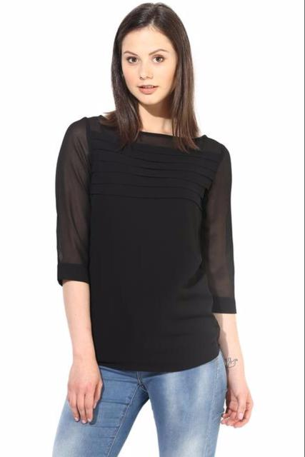 Black Casual Top With Pleates At Yoke/TSF400231