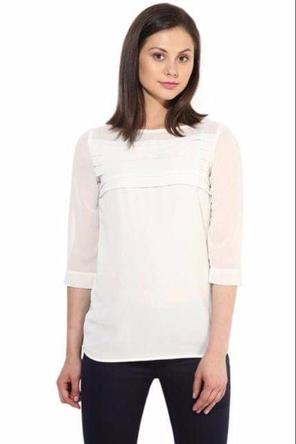 Offwhite Casual Top With Pleates At Yoke/TSF400232