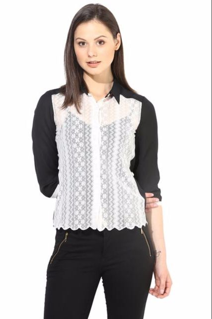 Whiteblack Casual Top With Lace/TSF400233