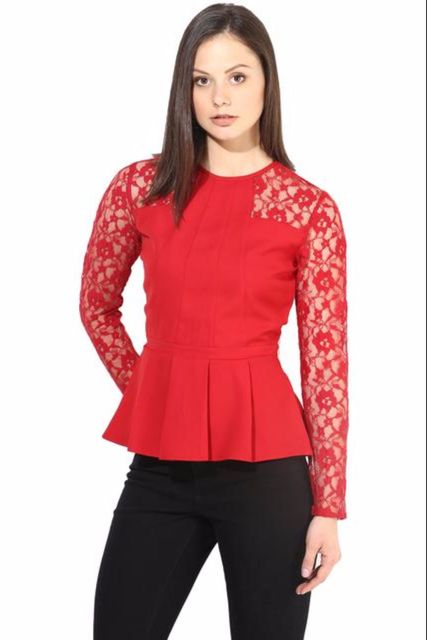 Red Casual Top With Lace At Yoke/TSF400241