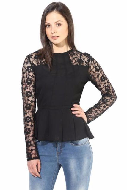 Black Casual Top With Lace At Yoke/TSF400242