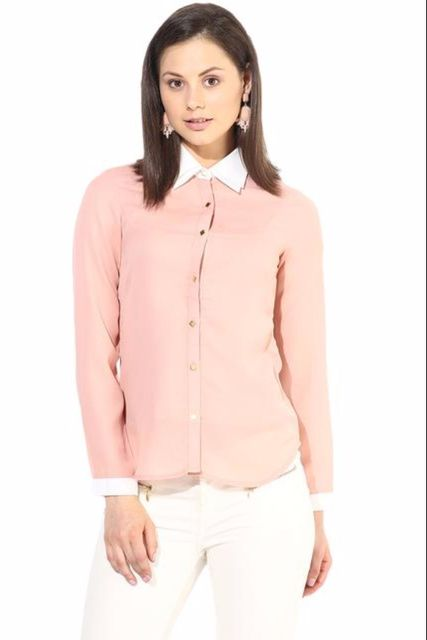 Peach Casual Shirt With Golden Button/TSF400244