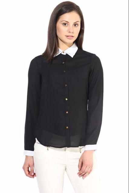 Black Casual Shirt With Golden Button/TSF400245