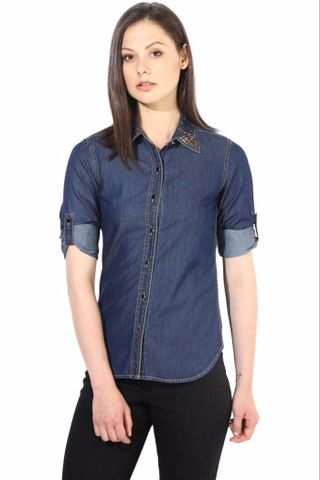 Blue Shirt In Denim With Emblishment At Collar/TSF400283