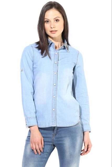 Blue Shirt In Denim With Emblishment At Collar/TSF400284