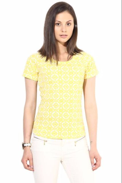 Yellow Casual Top In Knit Fabric/TSF400290