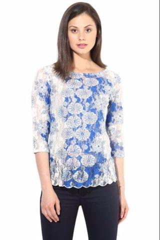 Blue Casual Lace Top/TSF400291