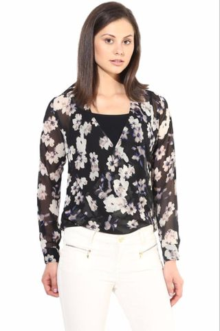 Black  Casual Top In Printed Fabric/TSF400297
