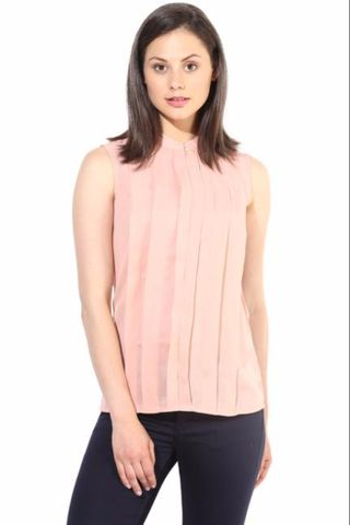Peach Pleated Top In Solid Summer Cool/TSF400213