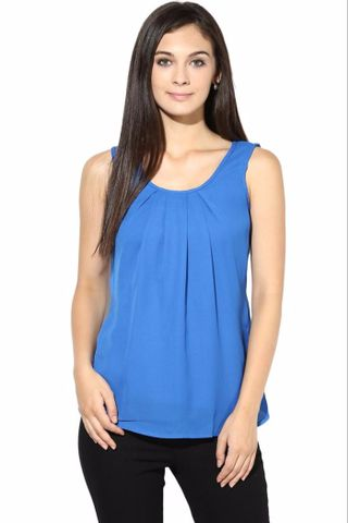 Blue Casual Top In Solid/TSF400203