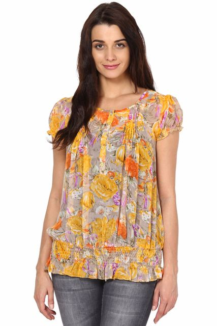 Yellow Top In Poly Ggt Fabric/TSF2614