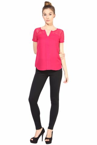 Casual Top With Lace At Yoke/TSF400292