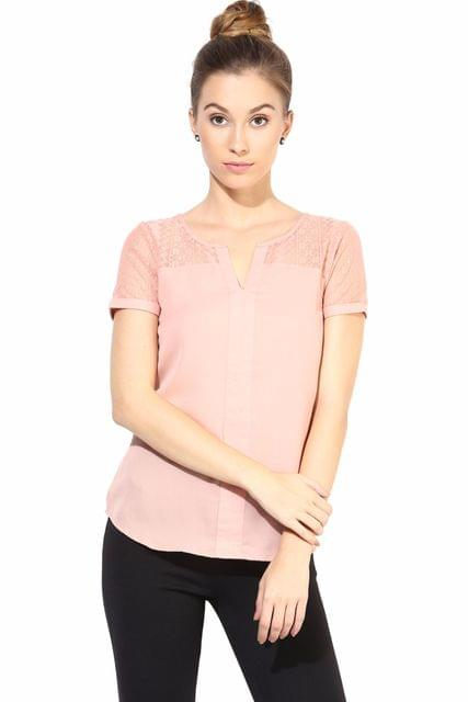 Casual Top With Lace At Yoke/TSF400294