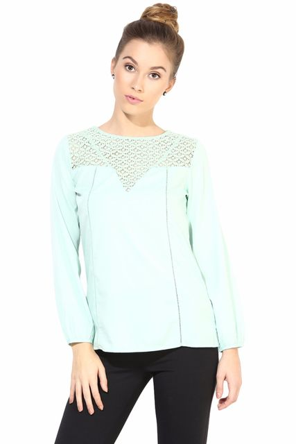 Casual Top With Lace At Yoke/TSF400303