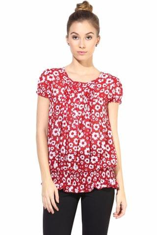 Red  Casual Top In Printed Fabric/TSF400313